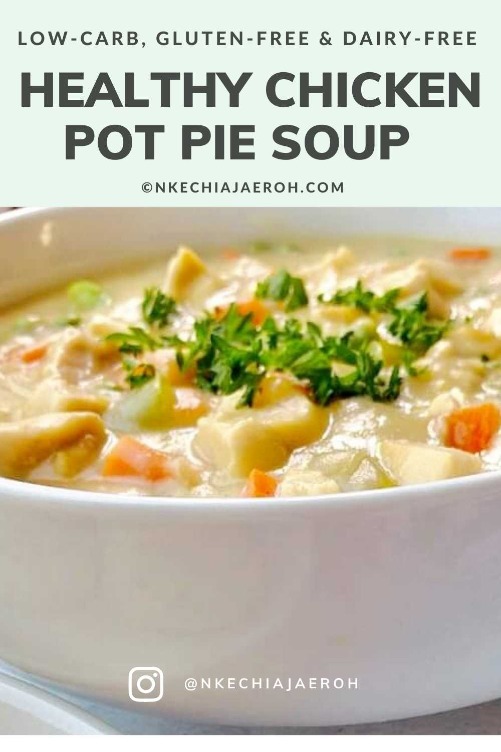 A perfect healthy chicken pot pie soup that is creamy, cozy, comforting, hearty, and very satisfying; this soup is gluten-free, dairy-free, nut-free, paleo-friendly, low-carb, and whole30-friendly. This easy-to-make heart-healthy pot pie soup will keep you satisfied and wanting more at the same time! #Chickenrecipe #chickenpotpiesoup #Glutenfreerecipe #Dairyfreerecipe #Glutenfreechickenpotpiesoup #cauliflowerrecipe