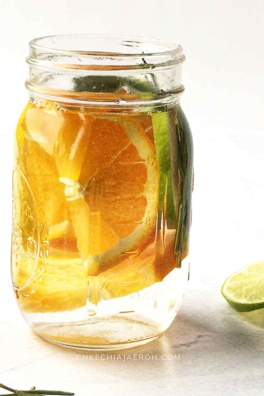 Immune-Boosting Citrus Water (Orange lemon lime water with Rosemary)