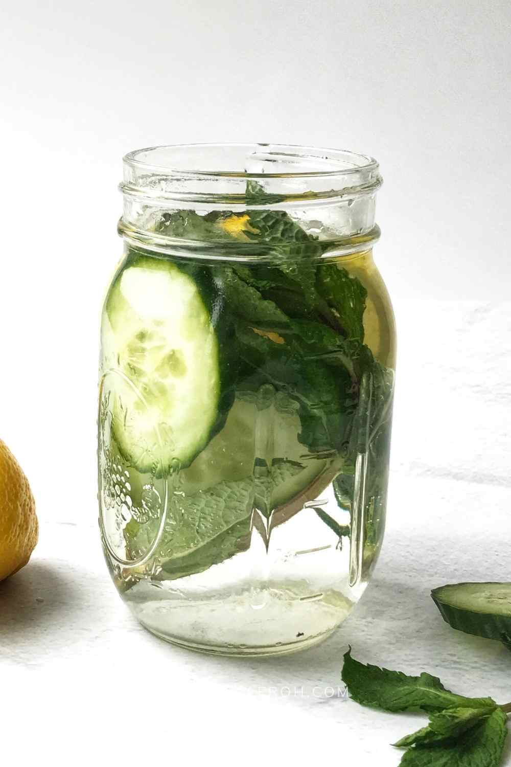 Cucumber Lemon water with mint and Rosemary