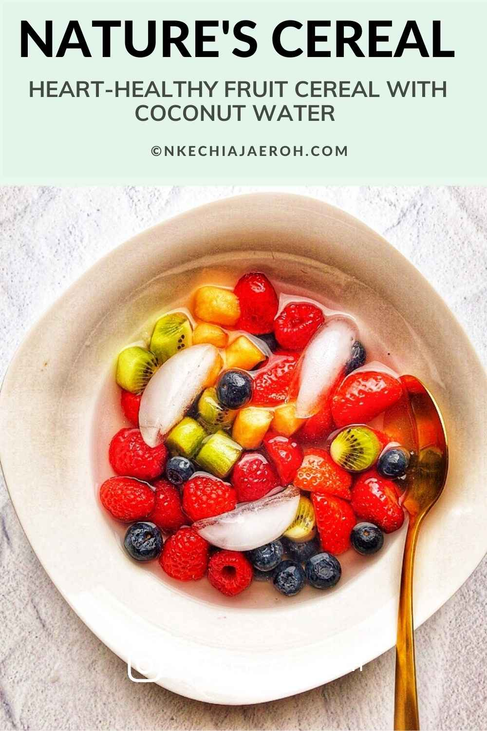 Delight yourself with a bowl of viral TikTok nature's cereal; add your favorite berries and fruits to a bowl, pour some coconut water, ice cubes, and enjoy! You won't believe the refreshing goodness of this fruit cereal! The best thing is that this healthy cereal recipe is easy! #viralnaturescerealvideo #naturescerealrecipe #naturescereal #fruitcereal #fruitbowl #coconutwater