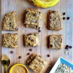 These naturally gluten-free peanut butter banana bars are packed with healthy fat, energy-giving oats, fruits, chocolate chips, and soft baked to perfection! It has the right amount of saltiness and flavors! These easy to make peanut butter snack is currently my family's best snack for so many reasons, and I hope it would be yours!