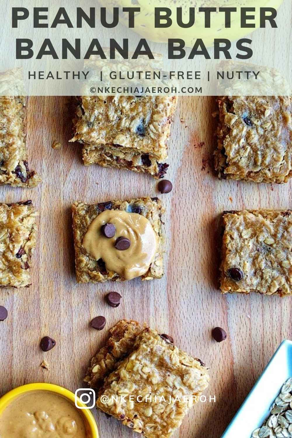 Gluten-free Peanut Butter Banana Oatmeal Bars These naturally gluten-free peanut butter banana bars are packed with healthy fat, energy-giving oats, fruits, chocolate chips, and soft baked to perfection! It has the right amount of saltiness and flavors! These easy to make peanut butter snack is currently my family's best snack for so many reasons, and I hope it would be yours! #Peanutbutterbars #bananarecipe #peanutbutterrecipe #healthysnack #NkechiAjaerohRecipes #Oatsbar #Oatmealrecipe