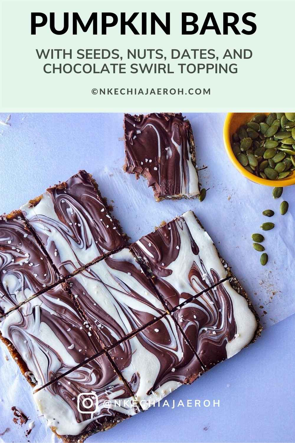 These healthy pumpkin seed bars made with pumpkin seeds, sunflower seeds, coconut flakes, dates, pink salt, and then topped with a chocolate swirl will make your day. These bars are gluten-free, grain-free, and refined sugar-free, as well as a no-bake! Make sure to make these pumpkin bars during thanksgiving and other occasions! Serve pumpkin (seed) bars as healthy snacks, dessert; make a lot, and freeze the remaining. #Pumpkin #Pumpkinbars #pumpkinseeds #sugarfree #grainfree #glutenfree #pumpkinrecipes