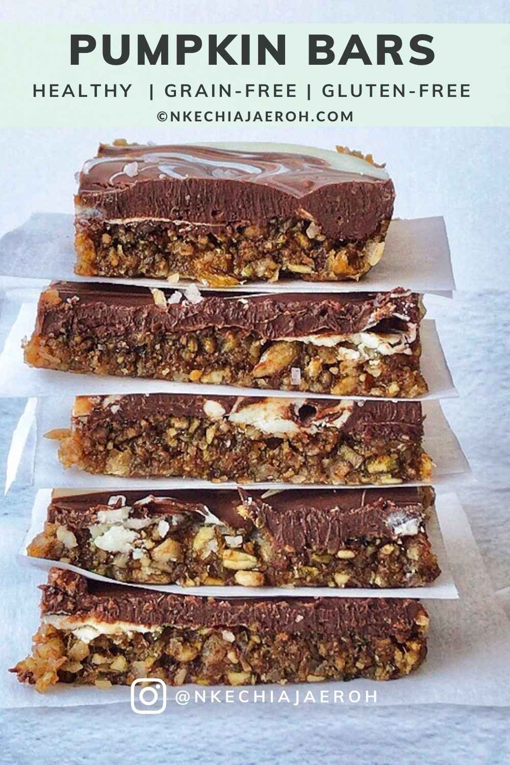 These healthy pumpkin bars made with pumpkin seeds, sunflower seeds, coconut flakes, dates, pink salt, and then topped with a chocolate swirl will make your day. These bars are gluten-free, grain-free, and refined sugar-free, as well as a no-bake! Make sure to make these pumpkin bars during thanksgiving and other occasions! Serve pumpkin (seed) bars as healthy snacks, dessert; make a lot, and freeze the remaining. #Pumpkin #Pumpkinbars #pumpkinseeds #sugarfree #grainfree #glutenfree #pumpkinrecipes