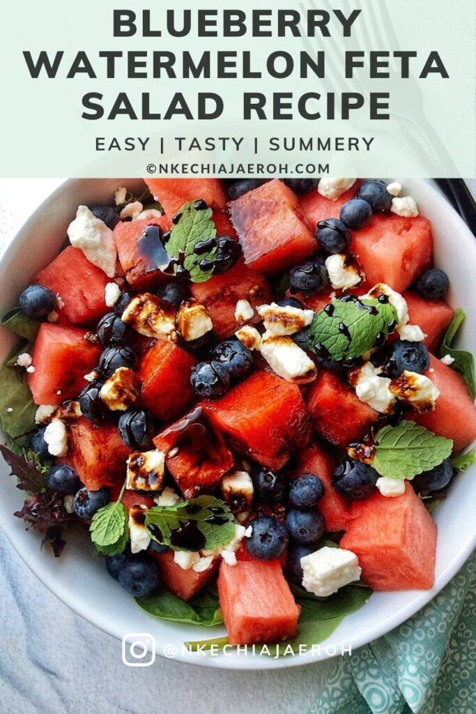 Healthy and fresh blueberry watermelon feta salad recipe with balsamic reduction is refreshingly sweet, savory, and easy to make! The best part about this recipe is that it comes together so fast and is equally cheap with readily available ingredients! This easy watermelon salad needs only four main ingredients – fresh watermelon, fresh blueberries, feta cheese, and fresh mint leaves. This blueberry watermelon feta salad is equally excellent for Memorial Day or July 4th red, white and blue patriotic recipes! #summersalad #watermelonrecipe #blueberrysalad #redwhiteblue #watermelonfetasalad