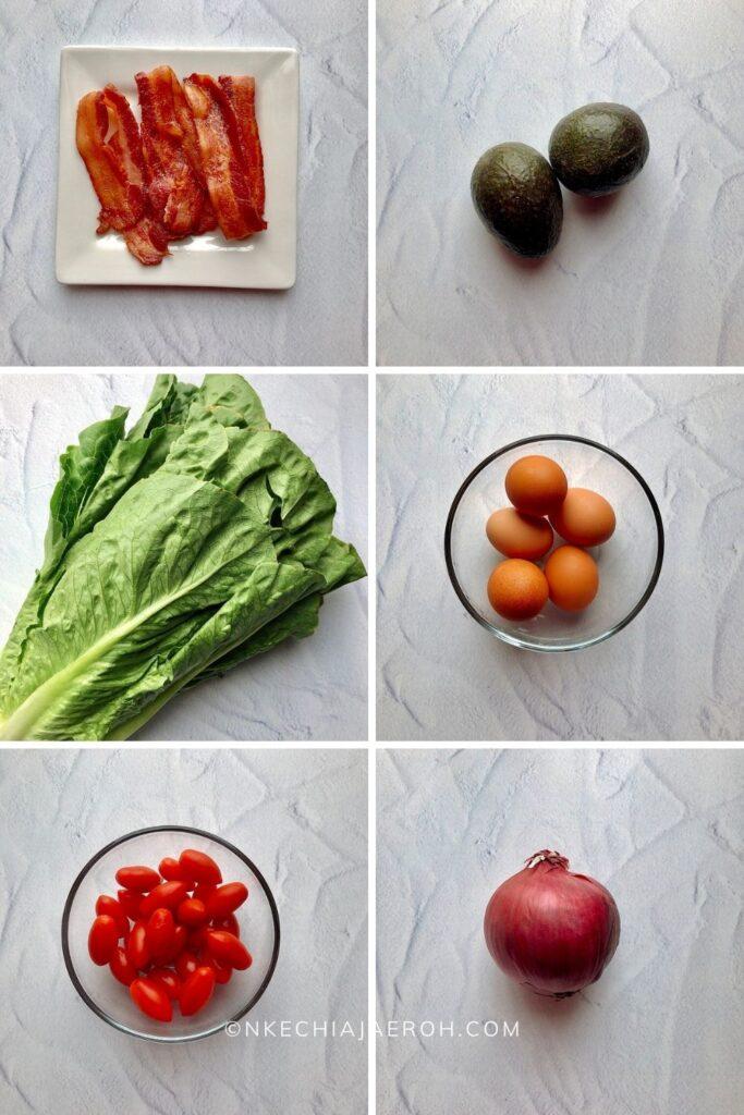 bacon, avocado, lettuce, eggs, cherry tomatoes, and purple onions