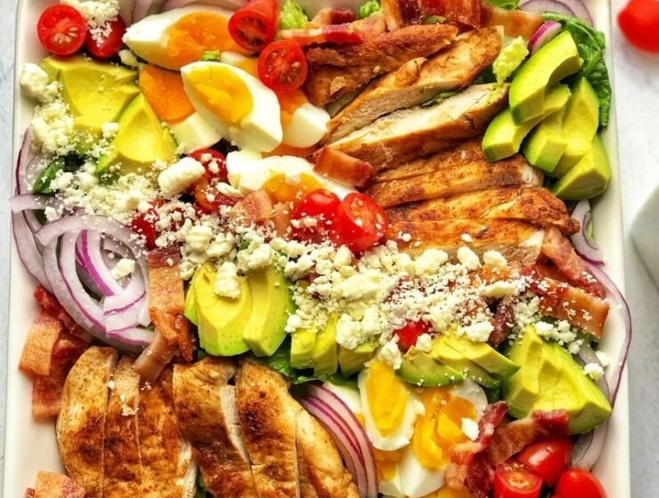 Healthy and delicious keto cobb salad is low-calorie (low-carb, obviously), gluten-free, very tasty, and full of flavors. This salad is made with fresh romaine lettuce, sautéed chicken breast, crispy bacon, hard-boiled eggs, cherry tomatoes, avocado, and crumbled feta cheese. The best thing about this cobb salad is it can be prepped ahead, which means it comes together quickly whenever you want to eat it! This is the low-carb meal prep salad recipe you are looking for; easy, breezy, and tasty! Definitely a must-try!