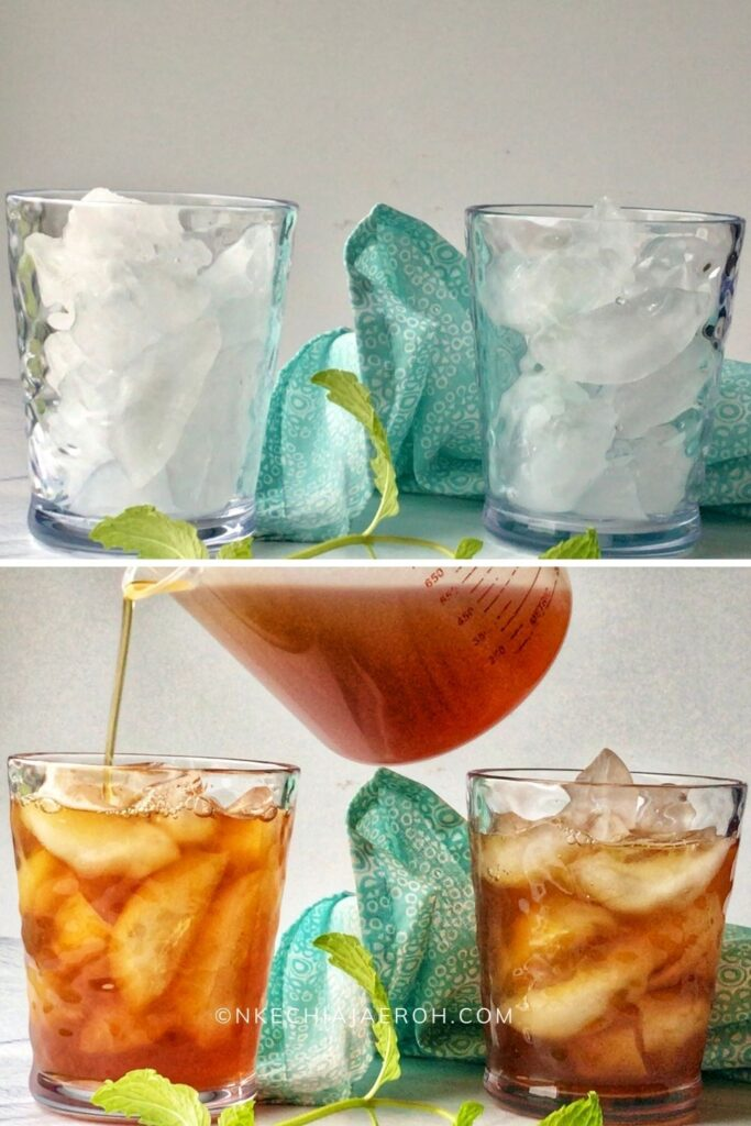 Pour chilled tea over ice.