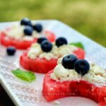 Refreshing and savory watermelon appetizer with feta and blueberry is sweet, salty, revitalizing, and satisfying! These watermelon appetizer bites are super easy to make and very cheap! Plus the fact that everyone likes it! Be warned; these fruity bites can be addictive. At the same time, this is the easiest and quickest red, white, and blue combo for the 4th of July!