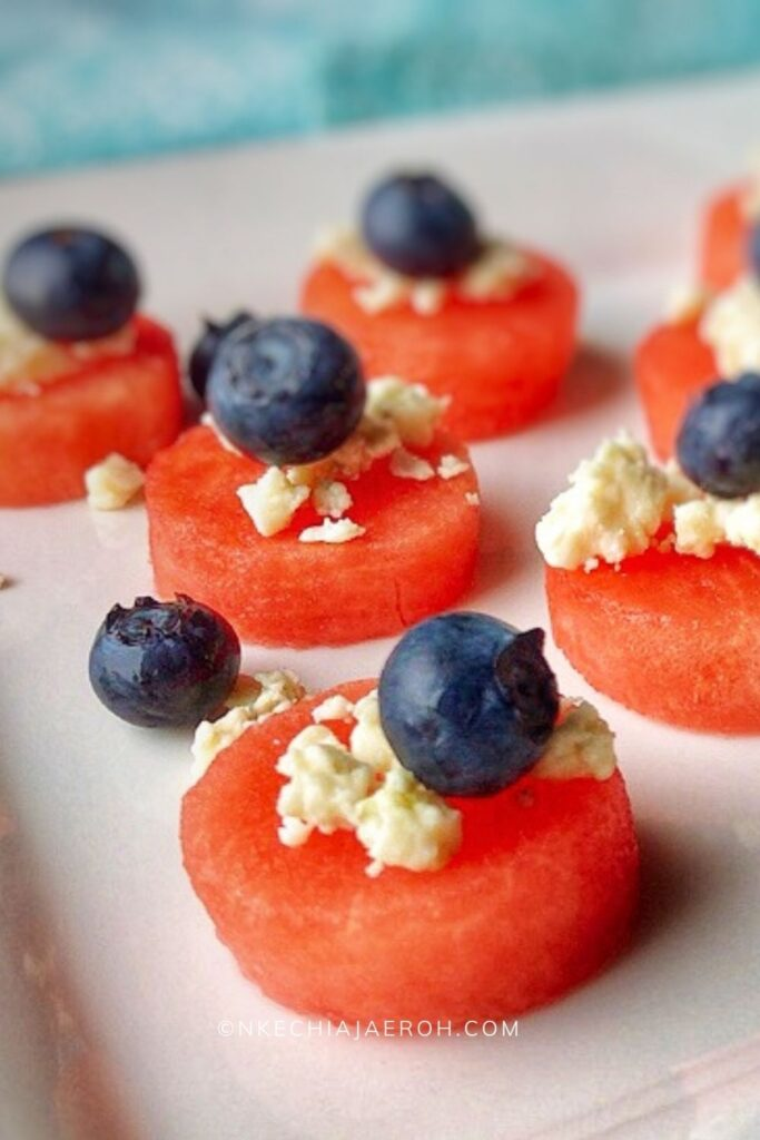Sweet and savory watermelon appetizer with feta and blueberry is healthy, easy, and refreshing! Super easy red, white and blue appetizer for July 4th!