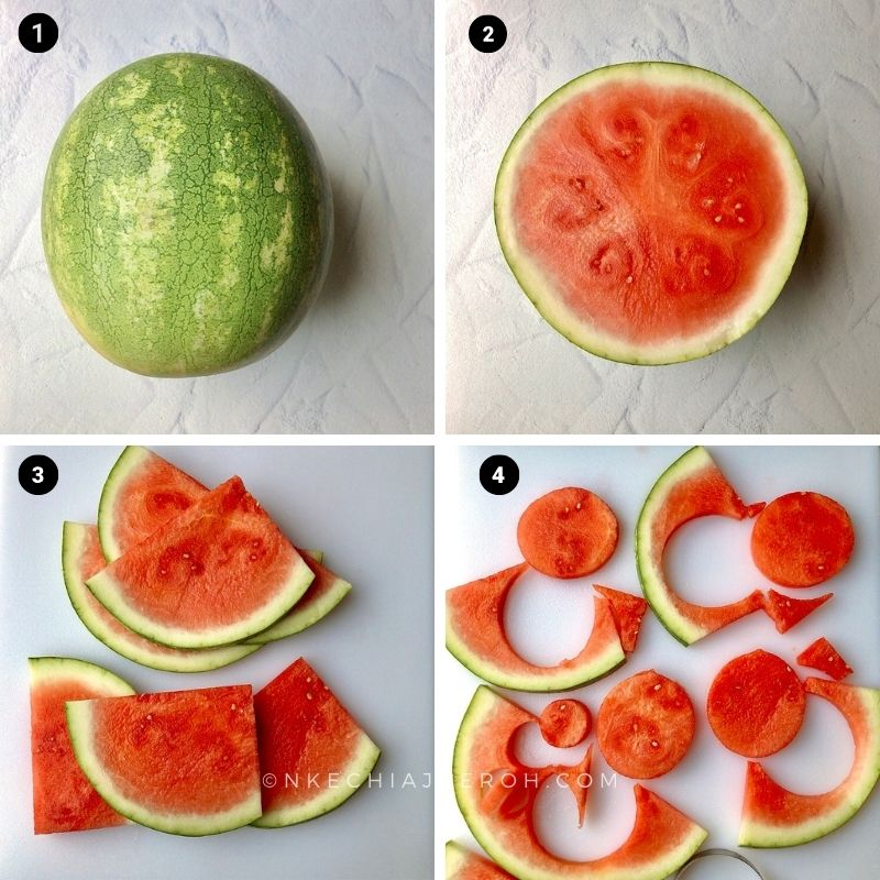 first, wash and cut the watermelon into big slices and at the thickness of the egg ring or cookie cutter.  To cut, place a slice of watermelon on a clean level surface and place the egg ring right at the middle and press down cutting. Repeat to cut all watermelon slices to make as many watermelon appetizer bites as you want.