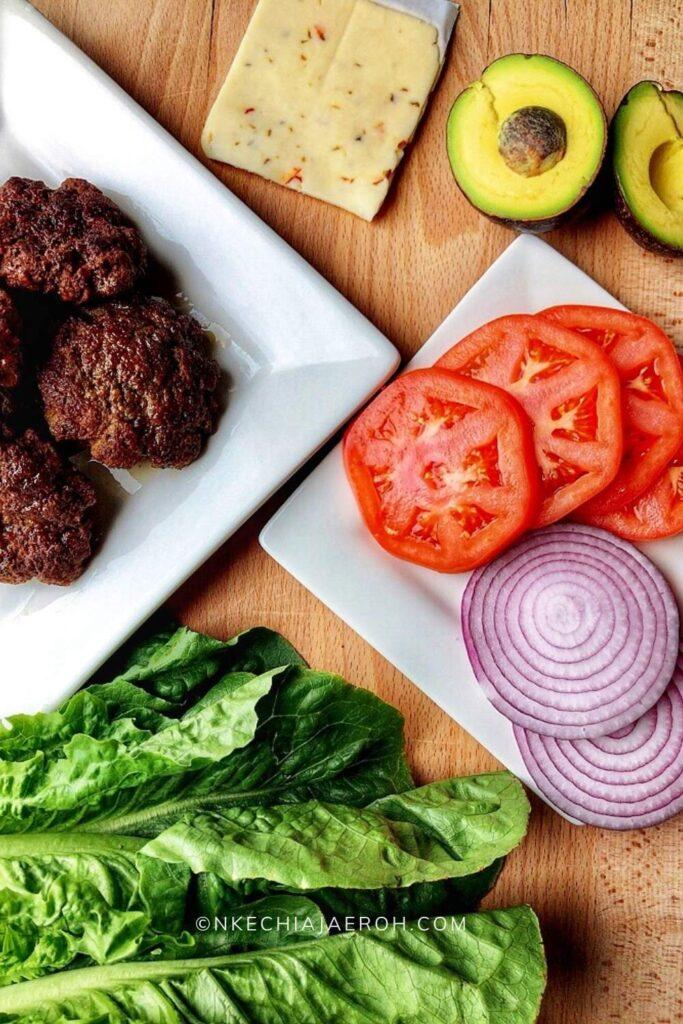 Ingredients for making lettuce wraps cheeseburger
