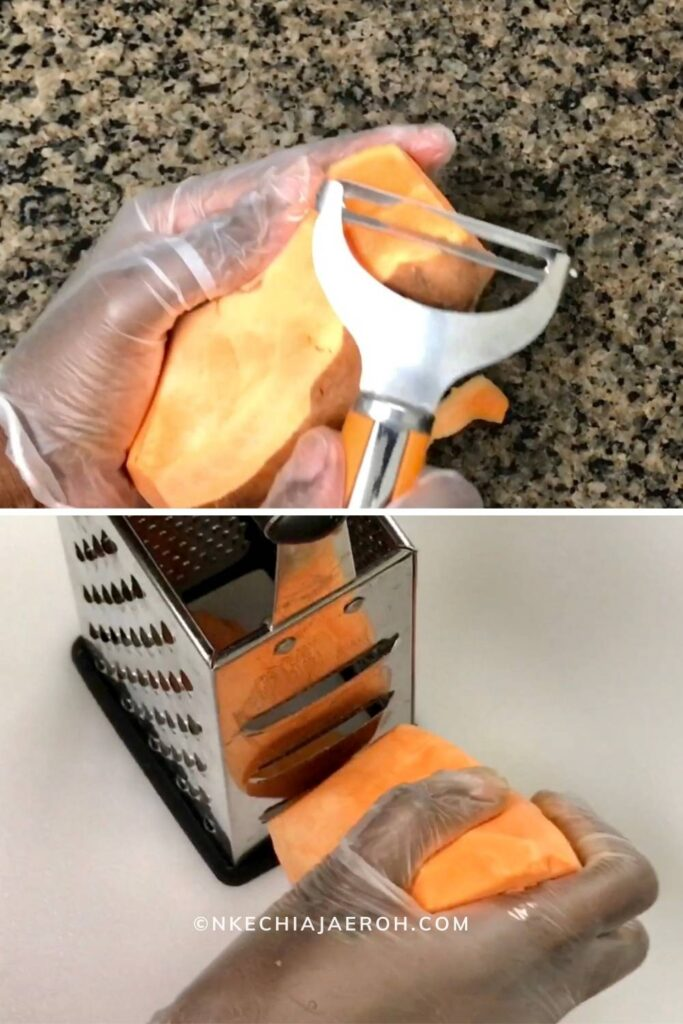 How to Thinly Slice or Shave Sweet Potatoes for baked sweet potato egg cups