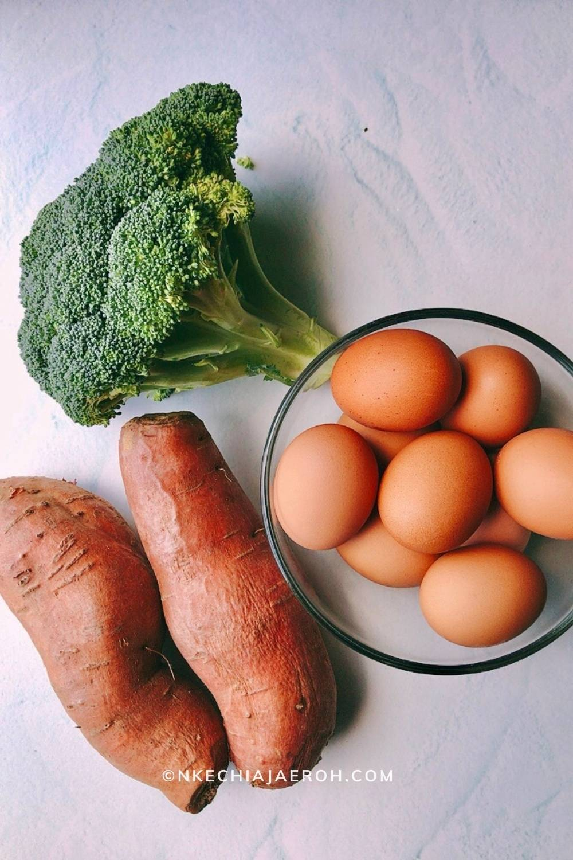 Raw sweet potatoes, Eggs and Raw broccoli,