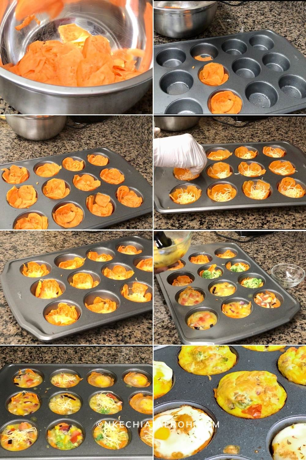Process photo of making baked sweet potato egg cups