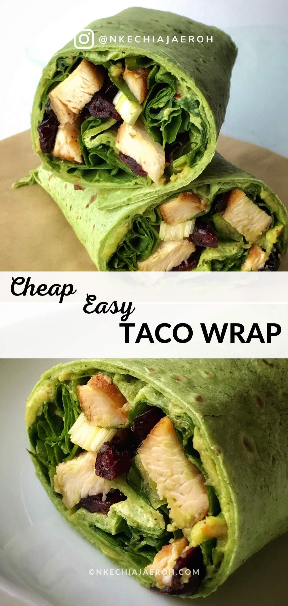 Best Taco Wrap Recipe! This super easy-to-make healthy taco wrap is the cheapest and easiest taco recipe you ever need. Gladly this simple but satisfying spinach chicken wrap is perfect for a quick lunch or busy weeknight dinners. All you need is five ingredients and 2 steps.  First, warm your taco (according to the manufacturer's instructions), and then fill it up with the ingredients!  Make this for Taco Tuesday and ENJOY! #Taco #Tacowrap #healthytaco #tacotuesday #tuesdaytaco #easylunch