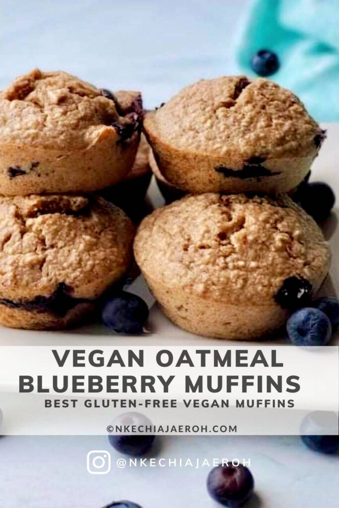 Vegan oatmeal blueberry muffins are the easiest healthy gluten-free breakfast muffins you can make! These vegan muffins are moist, fluffy, tasty, and full of sweet flavors from juicy blueberries, maple syrup, and bananas. Gluten-free, nut-free, refined sugar-free, and perfect for healthy breakfast meal prep. Double batch for grab-n-go breakfasts, on-the-go breakfasts, back-to-school breakfasts, and snacks! Make these ahead and freeze for busy mornings. #Vegan #veganmuffins #glutenfreemuffins