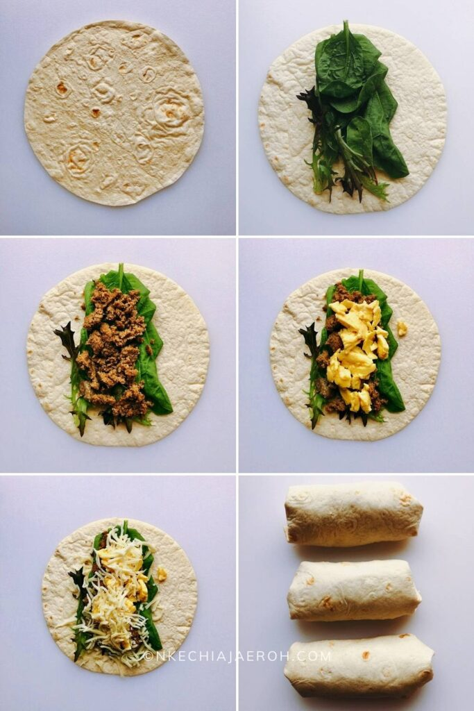 step by step process of making a freezer breakfast burrito