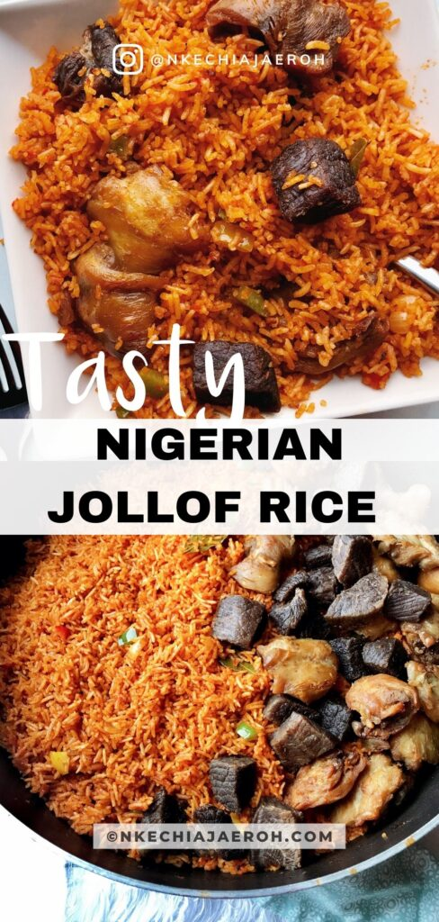 Insanely delicious party-style Nigerian basmati Jollof rice is the only Jollof rice recipe you need. The fusion of basmati rice with tomatoes, peppers, onions, garlic, curry, thyme, bay leaves, and other herbs/spices makes this party Jollof absolutely flavorful and tasty! The best part about making basmati Jollof rice is that it takes no time to cook. Authentic crowd-pleasing party-style Jollof rice recipe! #Jollofrice #Africanfood #Nigerianfood #PartyJollofrice #NigerianJollofrice #BasmatiJollofrice #Jollof