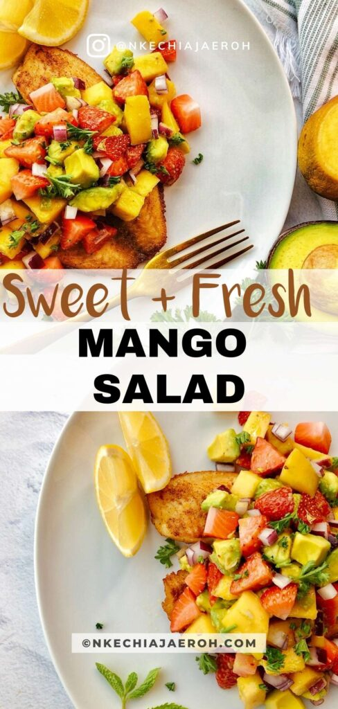 Easy and most delightful mango strawberry avocado salad is fresh, flavorful, bright, crisp, and sweet! This salad is loaded with a combination of fruits and vegetables in season during the summer. A fruity salad you can serve with meat or fish for a more filling meal or use as salsa. Equally, this is one fresh and flavorful salad that you can load up on salad greens. #Mangosalad #mangosalsa #Strawberrysalad #AvocadoSalsa #easysalad #summertime #summersalad #20minutemeal #fruitsalad